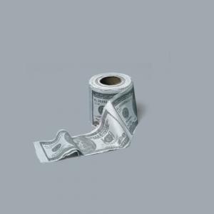 Scherzartikel Toilettenpapier als Dollar