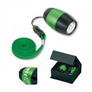 LED-Taschenlampe silber am Schlüsselband / Lanyard