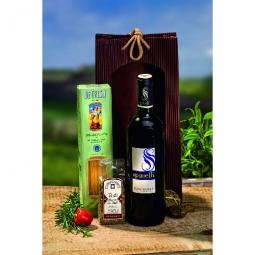 Präsent mit Nudel und Wein