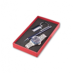 Modernes Geschenkset mit Herrenarmbanduhr mit blau