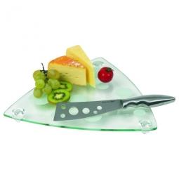 Käseplatte aus Glas mit Messer