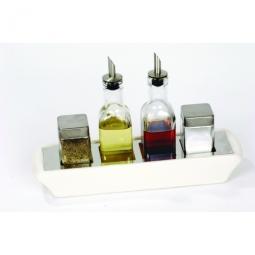 Pfeffer, Salz, Essig und Öl