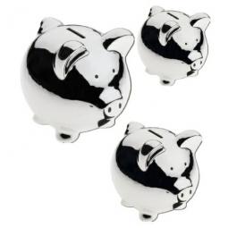 Sparschwein aus Keramik Metallverchromt